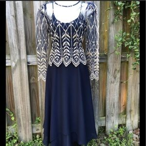 Vintage Cachet Navy Blue Embroidered Overlay Dress